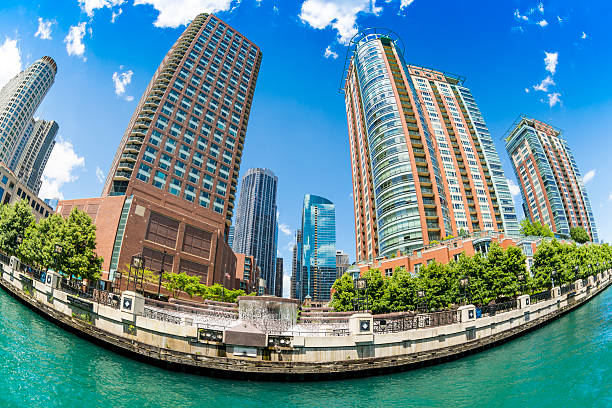 Chicago from the water Fisheye stock photo