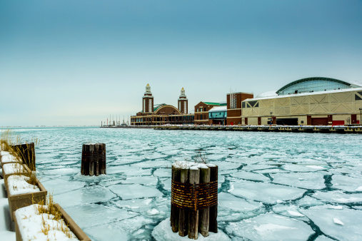 Chicago Frozen Lake Michigan Stock Photo - Download Image Now