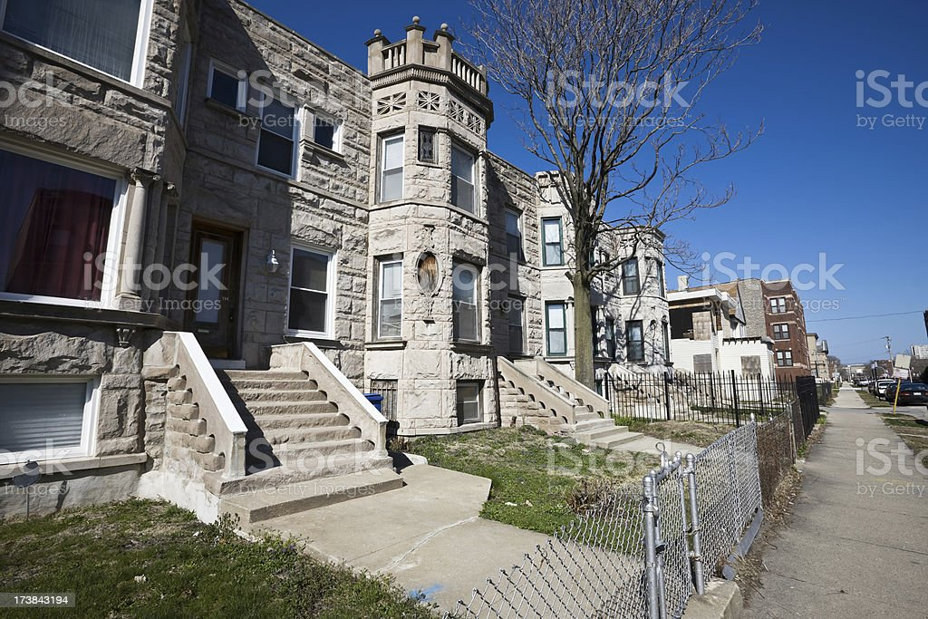 Chicago Graystone Houses royalty-free stock photo