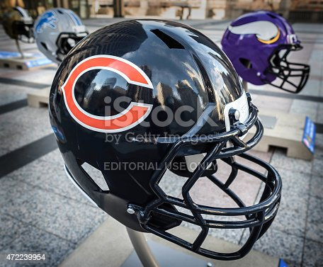 Chicago, IL , USA-April 19th 2015: Big helmets in downtown Chicago, getting ready for the NFL draft.