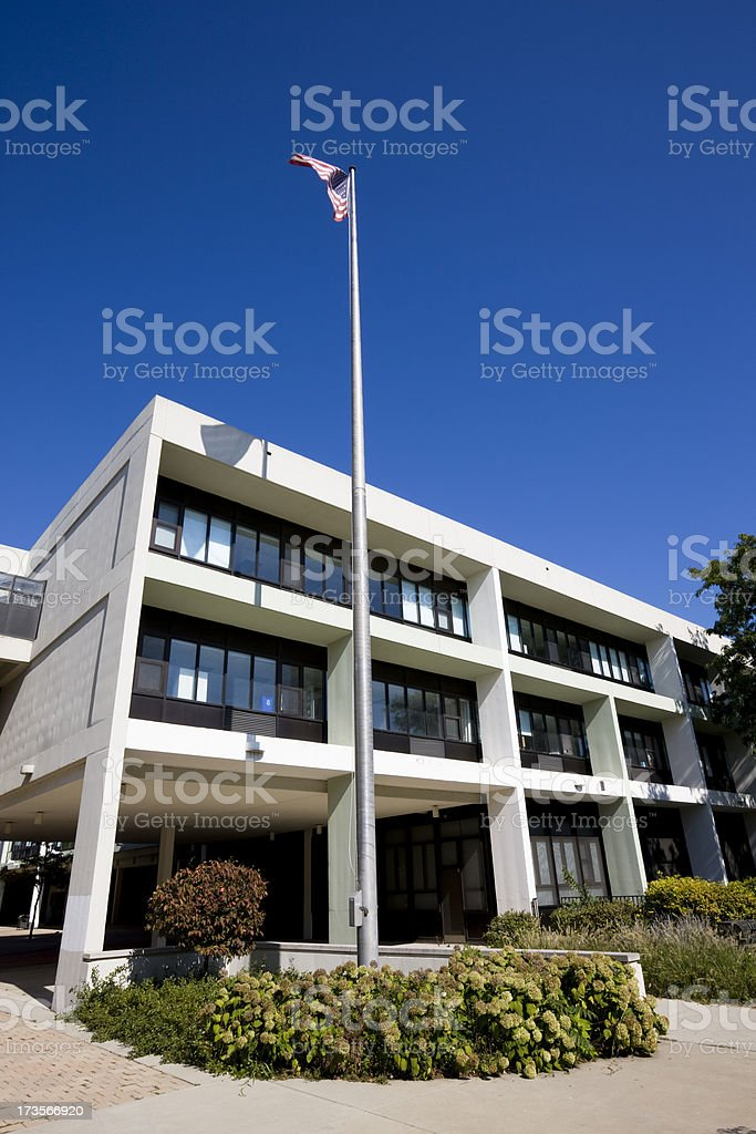 Chicago High School and Flag royalty-free stock photo