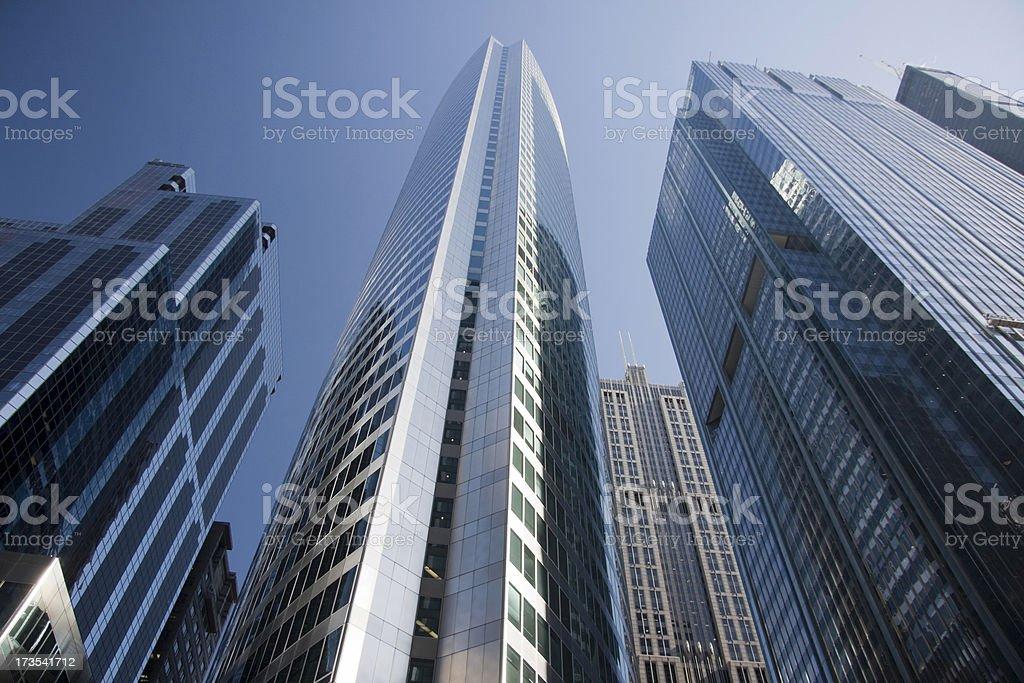 Chicago, IL skyscrapers scene in blue royalty-free stock photo
