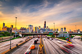 istock Chicago, IL, USA Cityscape and Highway 1200984056