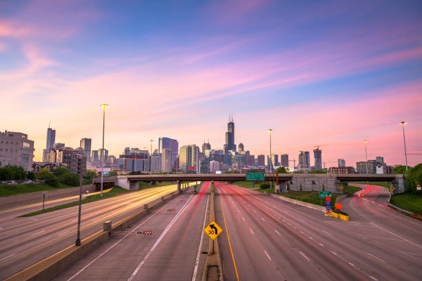Chicago, IL, USA Highways at Dawn stock photo