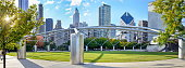 Chicago, IL, USA, October 02, 2015: Panoramic view at the stunning Millennium park located in Chicago