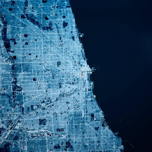 Chicago Illinois 3D Render Karte Blau Top Ansicht Okt 2019 – Foto