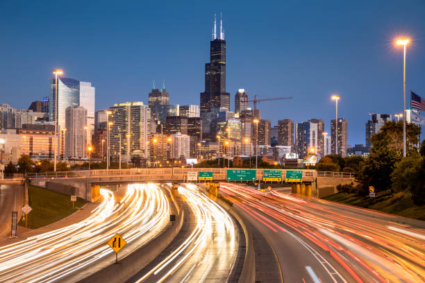 Chicago Illinois downtown city skyline view over the freeway stock photo