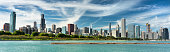Chicago cityscape looking out from the Adler Planetarium across Lake Michigan in Illinois USA