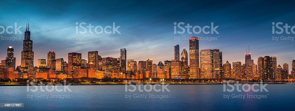 Chicago Illinois skyline panoramic stock photo