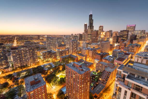 Chicago, Illinois, USA aerial cityscape towards Lake Michigan stock photo