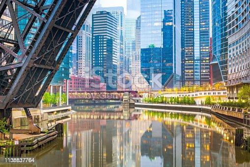 483312814 istock photo Chicago, Illinois, USA cityscape on the river 1138837764