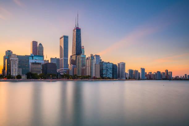Chicago, Illinois, USA downtown skyline from Lake Michigan stock photo