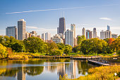 Chicago, Illinois, USA skyline and park in early autumn.