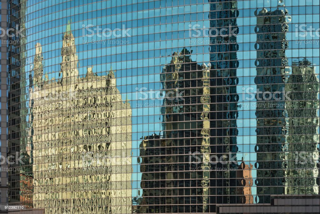 Chicago in a window stock photo
