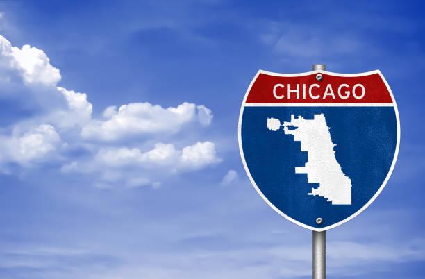 Chicago in Illinois - Karte Straßenschild – Foto
