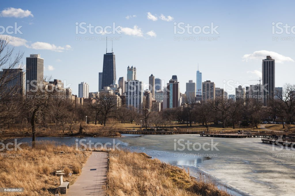 Chicago in Mid-Winter stock photo
