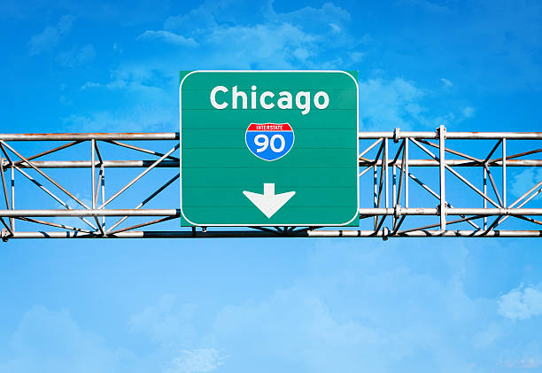chicago interstate 90 sign - number 90 stock photos and pictures