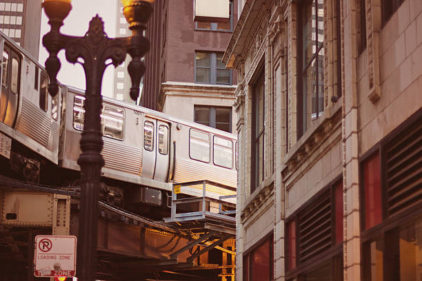 Chicago L Train running through the Loop stock photo