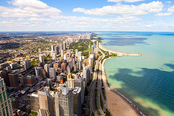 chicago lake shore drive aerial view - lakeshore stock photos and pictures