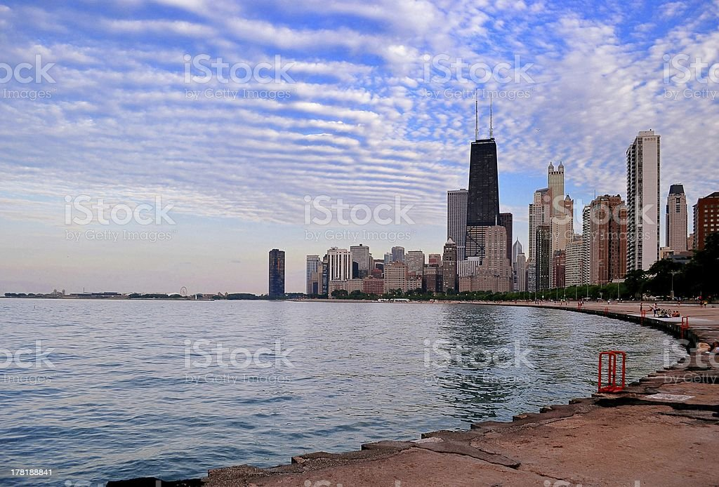 Chicago Lakeshore and Skyline at Sunset royalty-free stock photo