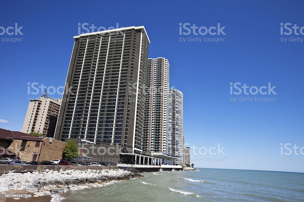 Chicago Lakeshore Apartment Buildings royalty-free stock photo