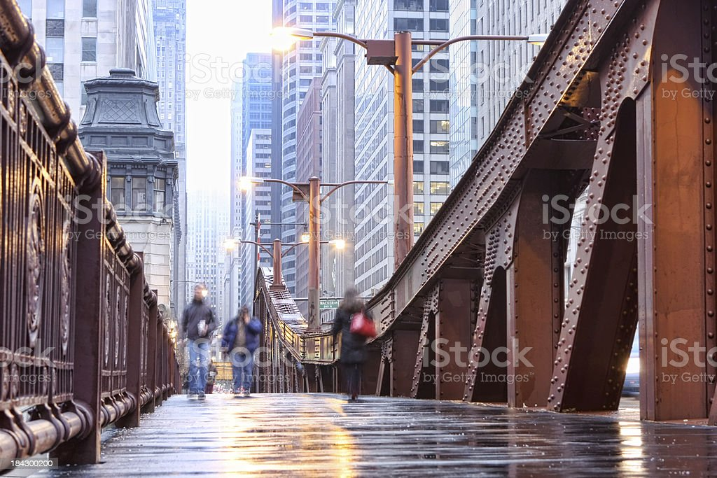 Chicago LaSalle Street Bridge Sidewalk royalty-free stock photo