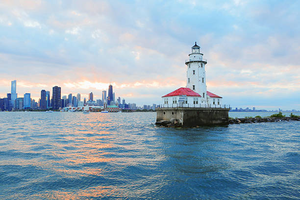 chicago lighthouse - lake michigan stock pictures, royalty-free photos & images