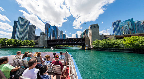 Chicago Loop Boat Trip Bridge stock photo