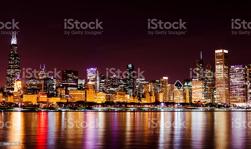 Chicago Loop Skyline at Night stock photo