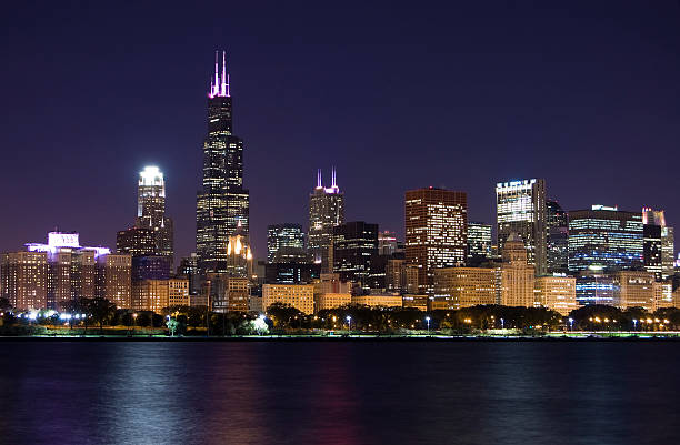 Chicago loop skyline next to the water stock photo
