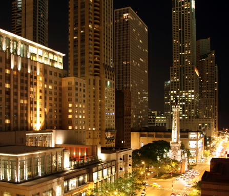 Chicago Magnificent Mile at night