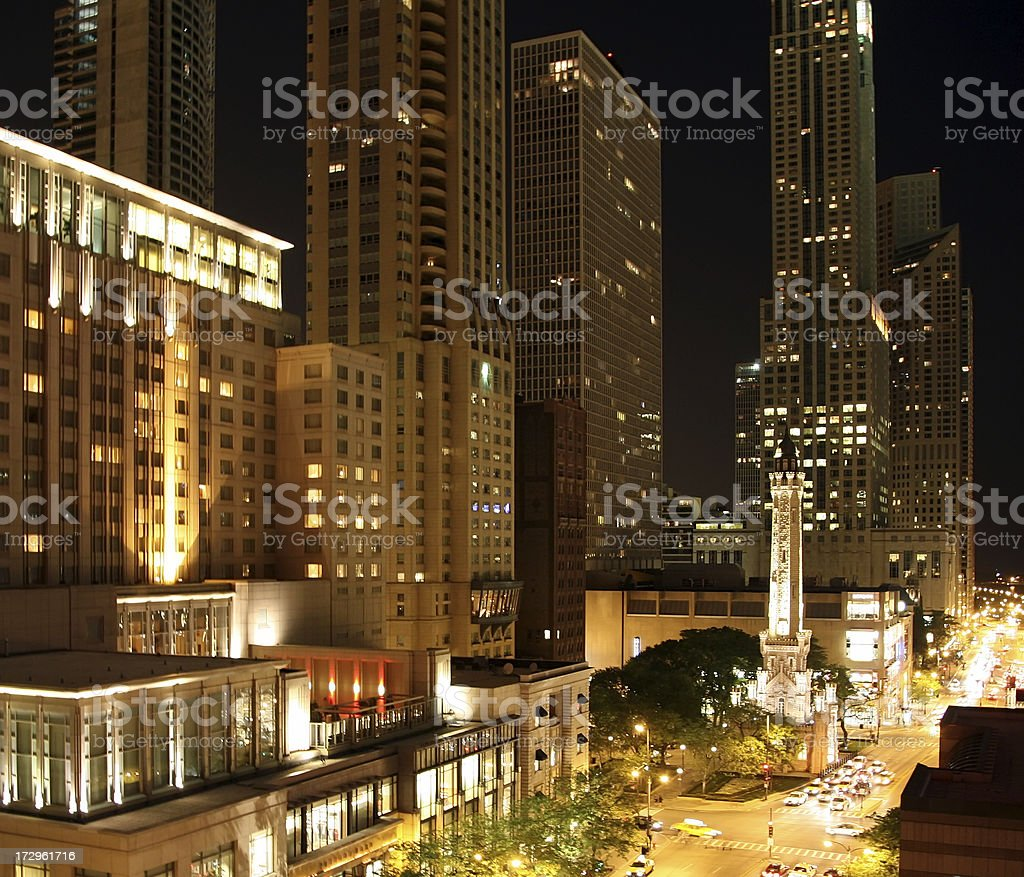 Chicago Magnificent Mile at night stock photo