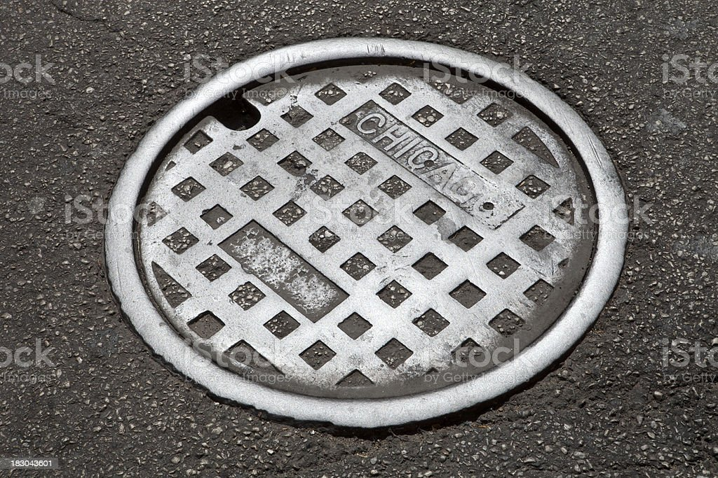 Chicago Man Hole Cover stock photo