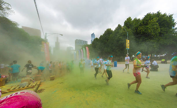 Chicago Marathon - colored dust stock photo