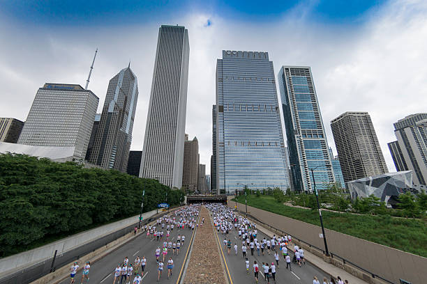 Chicago Marathon Skyline stock photo