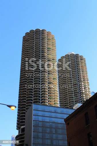 Chicago, Illinois, USA - June 17, 2012: Famous Marina City Towers in Chicago. The Marina City complex is near the Chicago River, was completed in 1964, and cost $36 million.