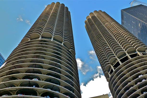 Chicago- Marina City Tower, Architecture, building stock photo