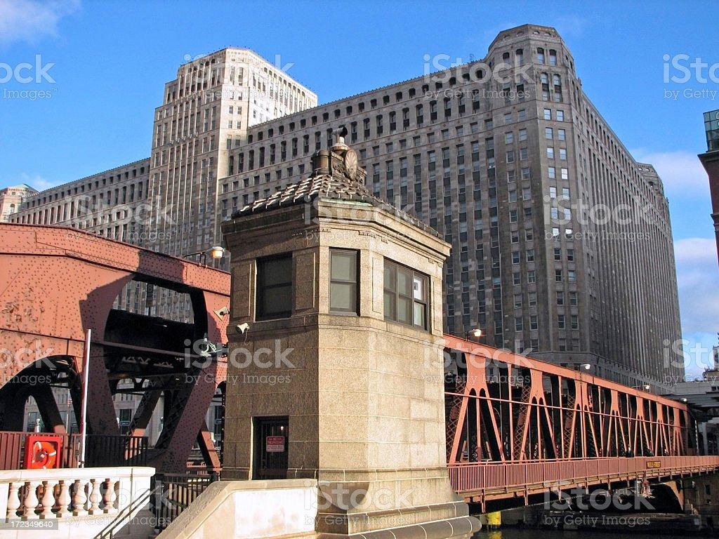 Chicago Merchandise Mart and Drawbridge royalty-free stock photo