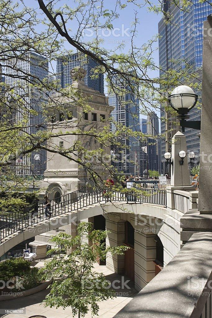Chicago Michigan Avenue Bridge Courtyard stock photo