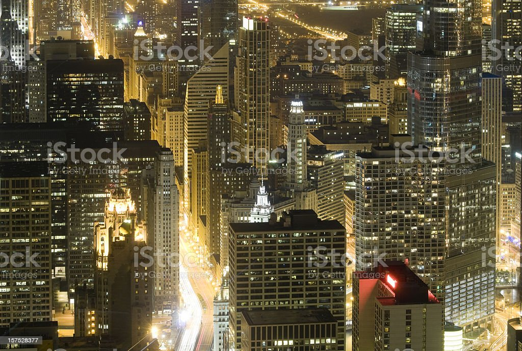 Chicago - Michigan Avenue From Above at Night royalty-free stock photo