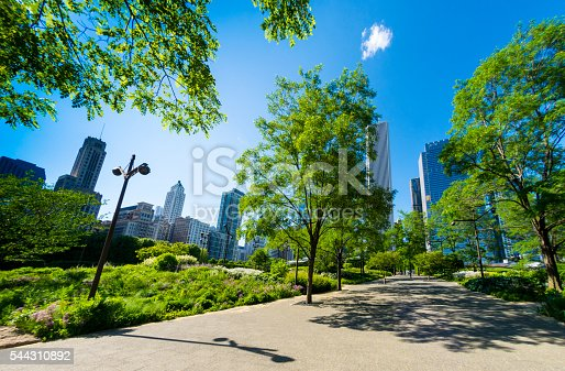 Part of the public gardens in Millenium Park in Chicago, Illinois, USA. Logos removed and people too small to be recognisable in distance.