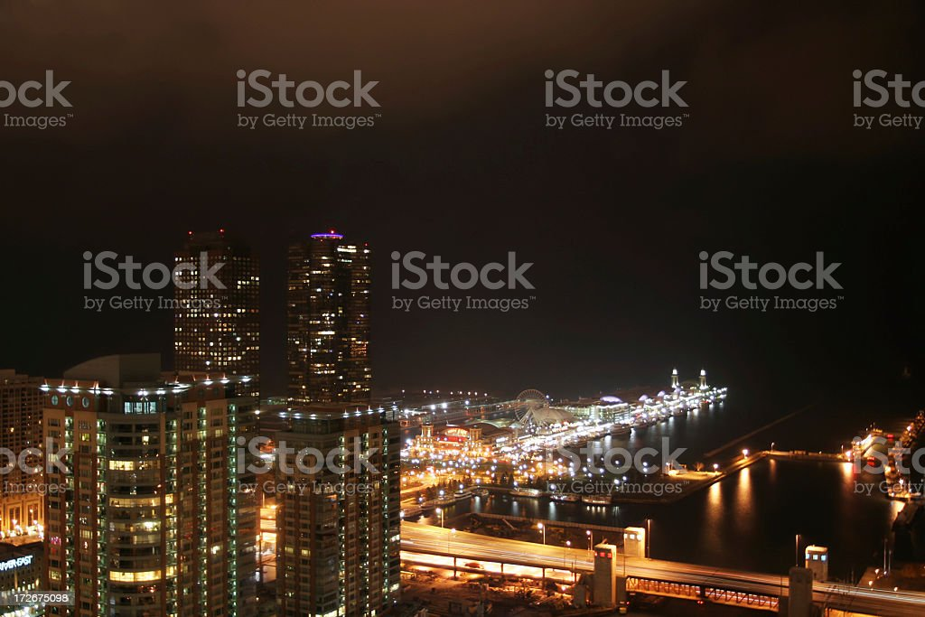 Chicago Navy PIer at night stock photo