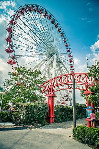 Chicago Navy Pier Ferris Wheel, Illinois, USA stock photo
