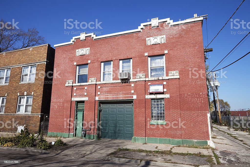 Chicago Neighborhood Repair Shopo royalty-free stock photo