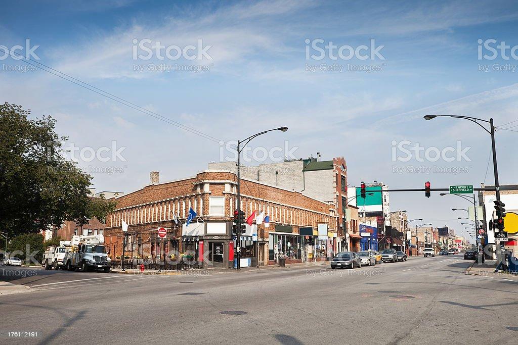 Chicago Neighborhood Shopping Street royalty-free stock photo