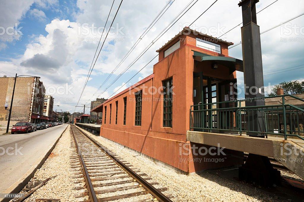Chicago Neighborhood Train Station royalty-free stock photo