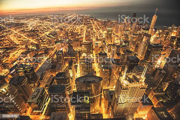 Photo of Chicago night downtown aerial view