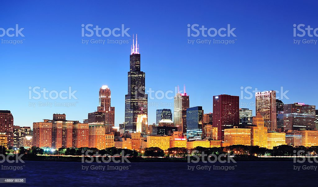 Chicago night panorama stock photo