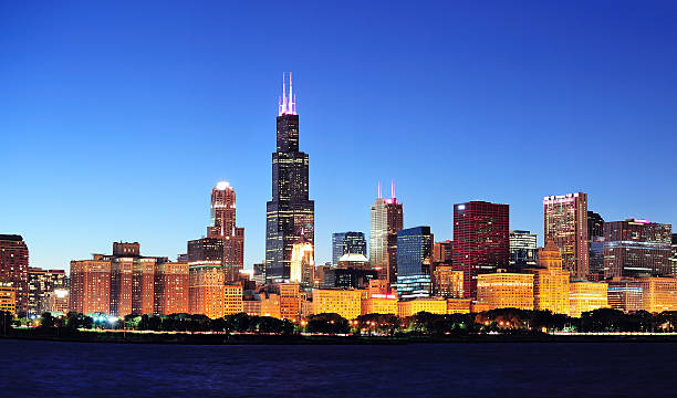 Chicago panorama bei Nacht – Foto
