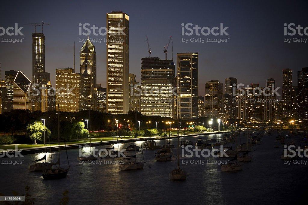 Chicago Night Scene royalty-free stock photo